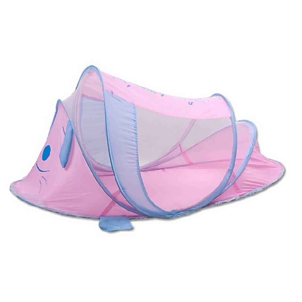 Baby Tent Bed Caroon Dog Folding Sleeping Tent Bed with Music Instant Pop Up Mosquito Net Crib,Baby Tent,Beach Play Tent 0-2 Years (1106055cm, pink)