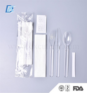 7in1 FDA Aviation Heavyweight Disposable Clear Plastic Camping Cutlery Set with Napkin