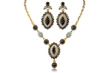 2017 Bohemian Europe and the United States retro fashion colorful gems crystal necklace & earring wedding jewelry sets