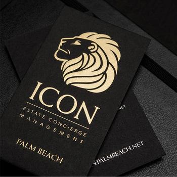 gold foil embossed printing black cardboard business card - Gold Foil Business Cards