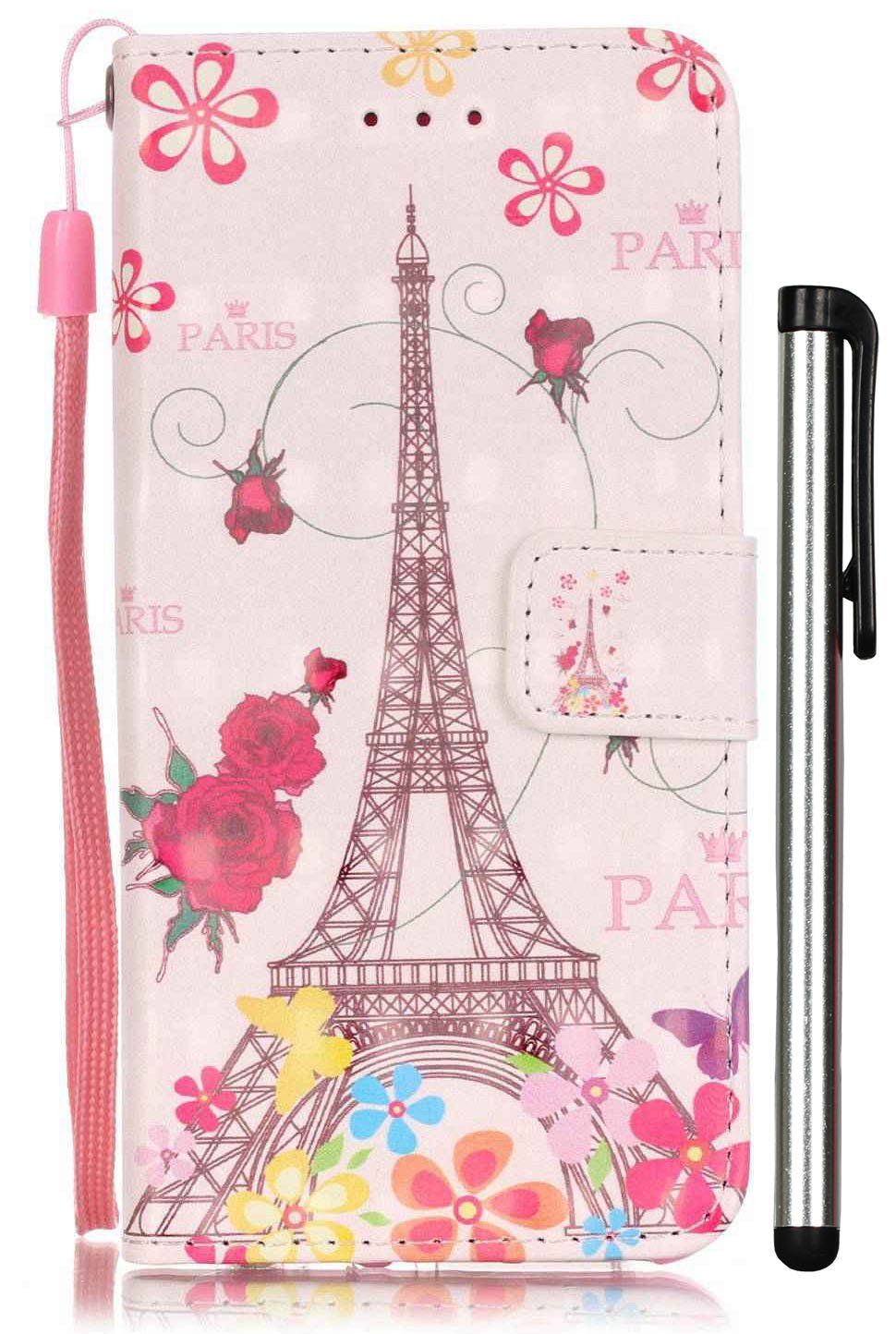 iPhone 7 Case,[3D Painting] Wallet Leather Magnetic Smart Flip Folio Case Cover with Cash [Card Slot][ID Holder][Kickstand][Wrist Strap] for Apple iPhone7 4.7 Inch - Eiffel Tower [Not Fit 7 PLUS]
