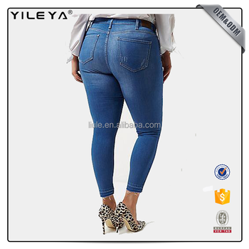 bc06aaa10f7 Plus Size Ripped Skinny High-waist Jeans For Lady - Buy Plus Size ...