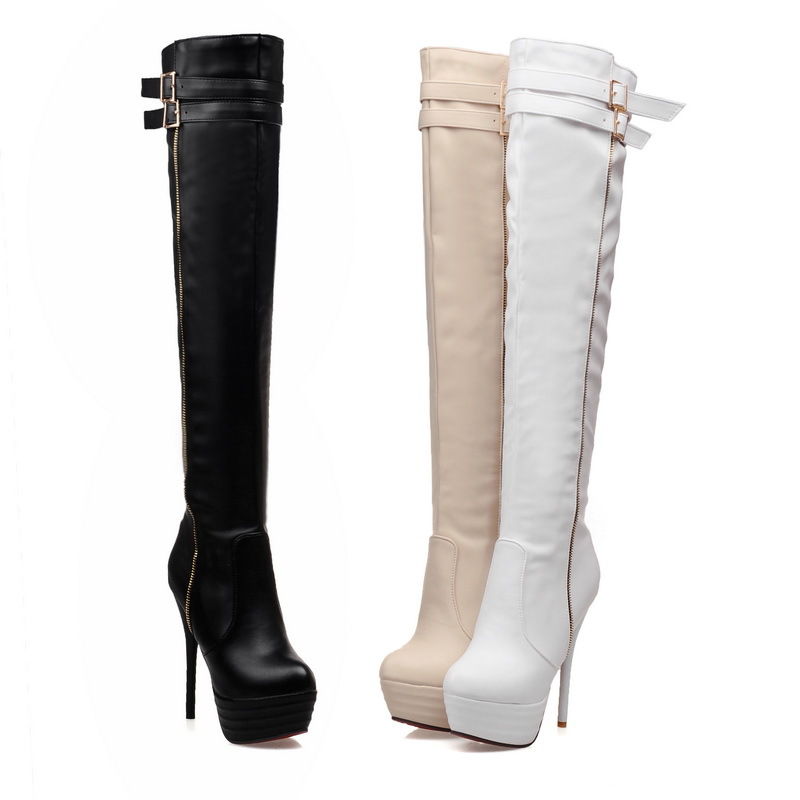 913dcc99b369 Get Quotations · Plus Size 34-46 New Winter 2015 Women Boots Red Bottom  High Heel Fashion Over