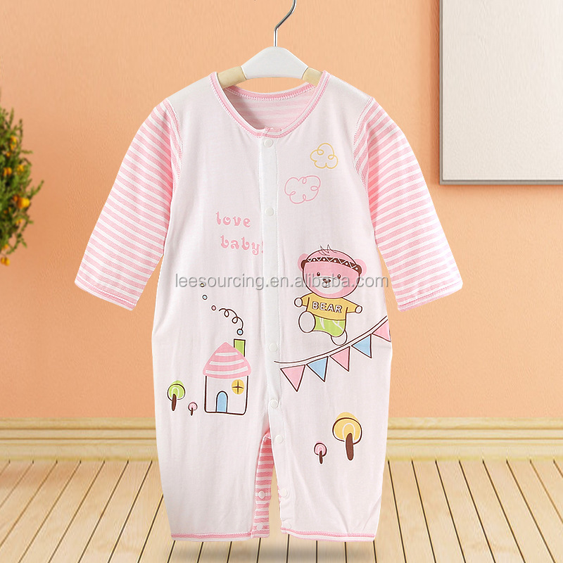 Spring stripe printing long sleeve newborn baby bodysuit
