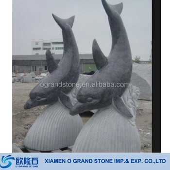 Outdoor Stone Garden Ornaments Dolphin Statues Sculpture