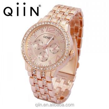 264e0ae0f87 QE0101 moda 2018 mais recente produto novo senhoras fantasia ouro genebra  mulher relógio de pulso