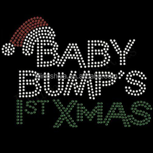 Hotfix 2016 Baby Bump's First Christmas Iron On Letters Transfers