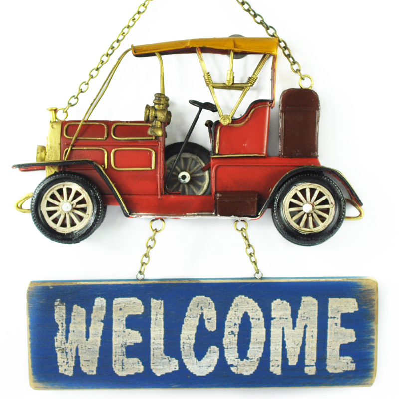 Creative Retro Welcome Sign Decor Home Craft Hanging Metal Car Wall Door Art Decoration For Bar Restaurant Dining Room