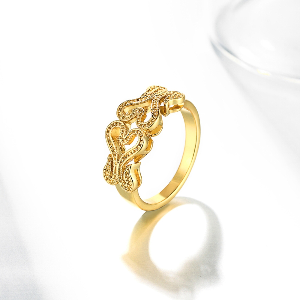 Double Heart Shape Latest Design Gold Ring Best Price Ring - Buy ...