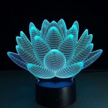 Lotus Flower 3d Usb Led Night Light Colors Changing Christmas Lights