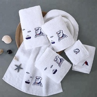 High Quality 100% Cotton Cartoon Embroidery Hotel Towel Pure White Cotton Bath Face Towel