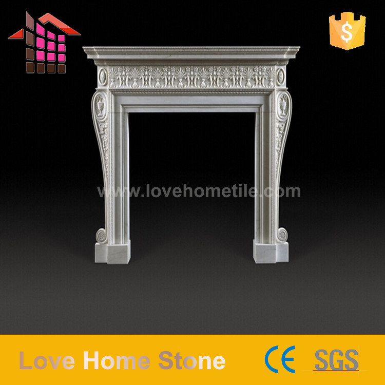 European style hand carving natural stone Beautiful &amp good quality indoor fireplace pictures made in guangdong