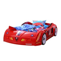 Full Size Children Furniture Kids Bedroom Furniture Sets Race Car Bed ABS Plastic with LED Light and Music