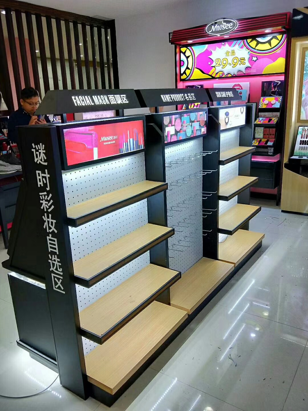 Professional Customized Cosmetic Lipstick Makeup Counter Display Show Cosmetic Display Stand