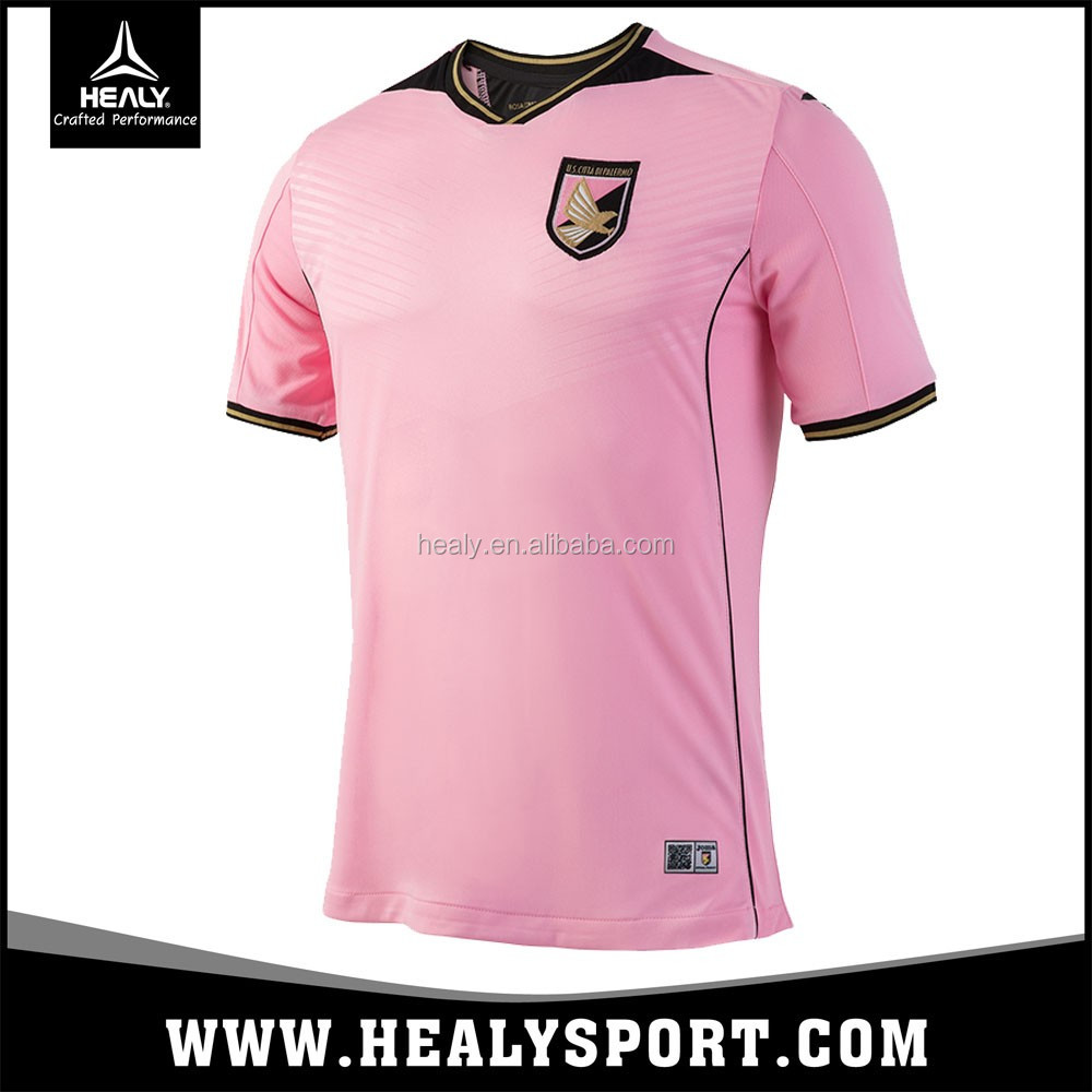 Custom Make Italy Fashion Design Soccer wear Palermo pink football jersey