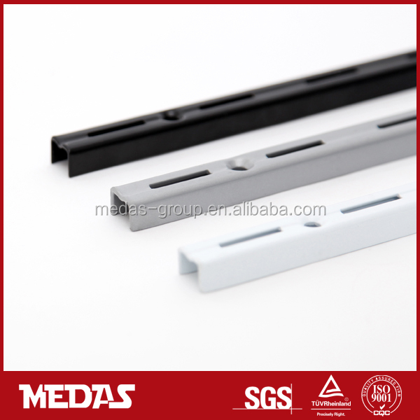 Single slotted channel for adjustable metal wall shelf