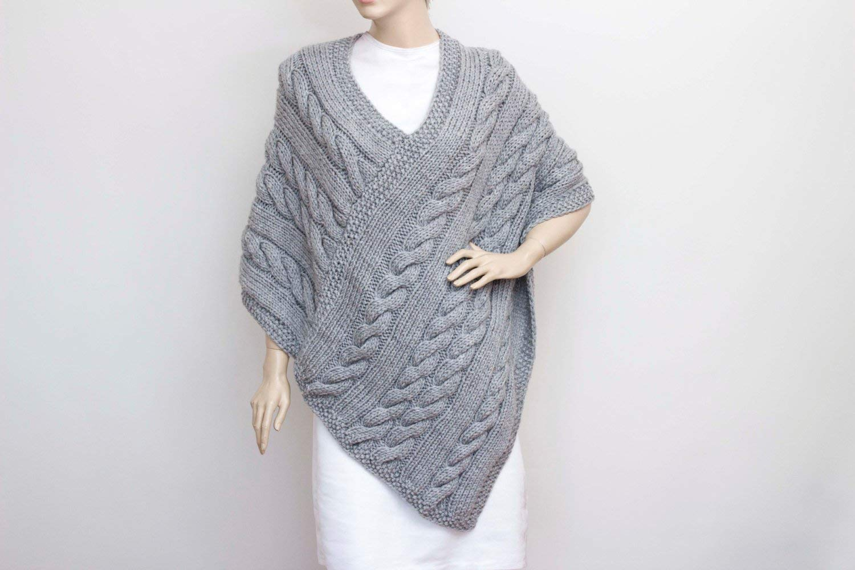 Knitted poncho, Cabled poncho, Chunky knit poncho, Large Shawl, crochet shawl, cowl shawl, Bridal gift, shawl, shrug capelet, bridal shawl, mothers day, mother gift, mom gift, Winter Shawl