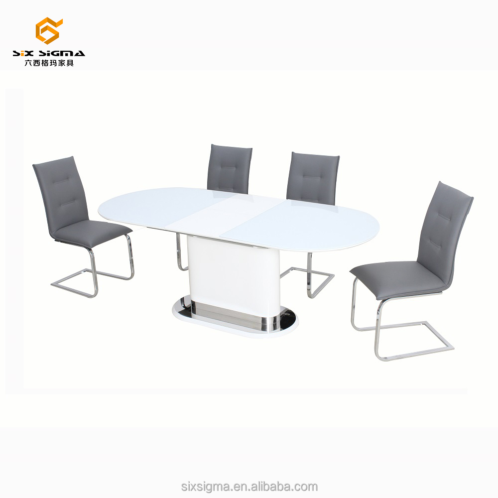 MDF high gloss top stainless steel dining extension table designs