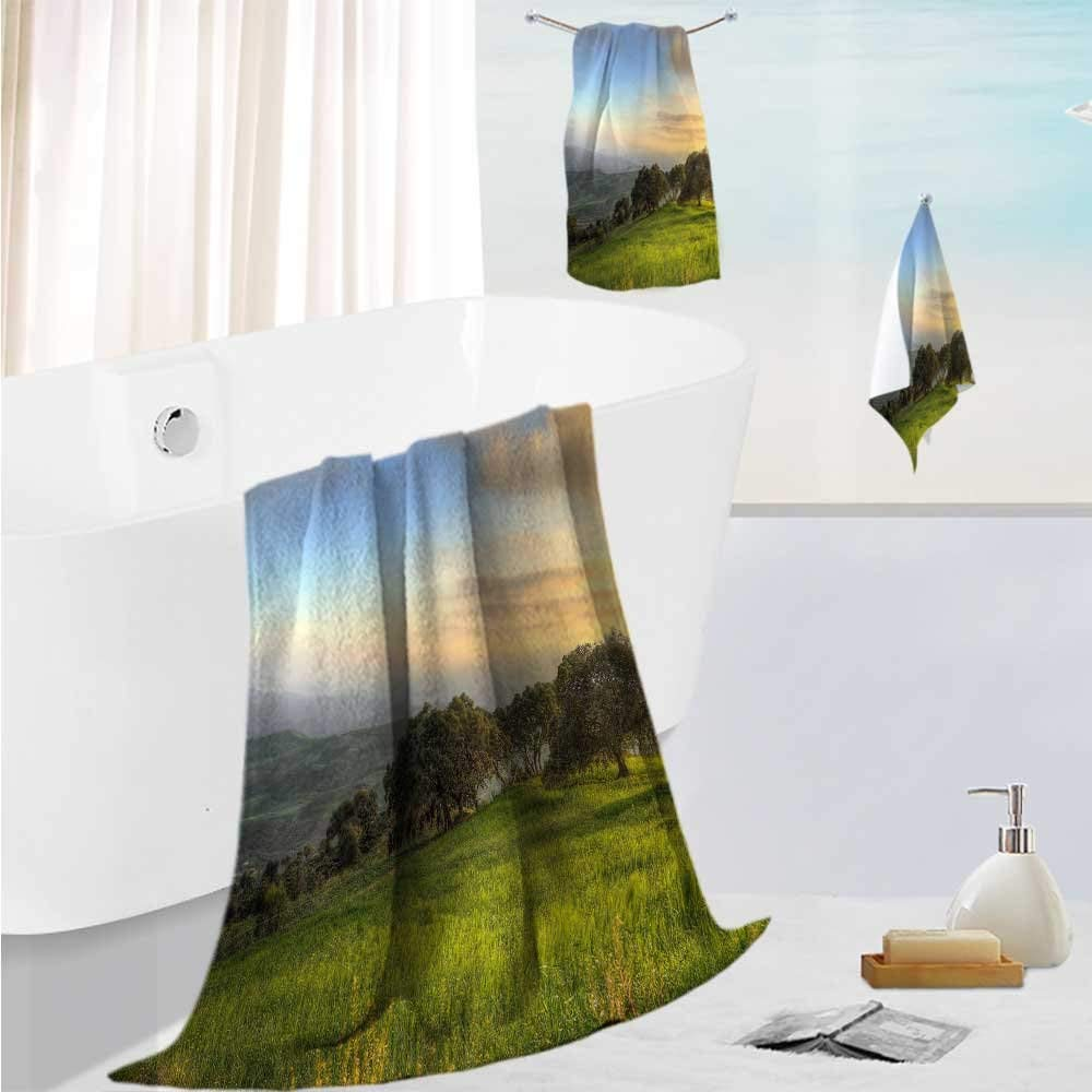 "AmaPark bath towel set design Trees on the prairie Thick, Plush, Absorbent 19.7""x19.7""-13.8""x27.6""-31.5""x63"""