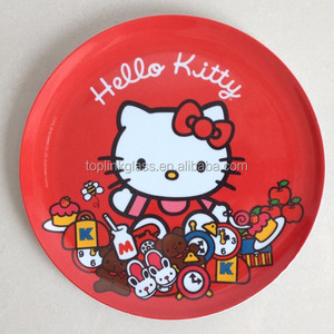 hello kitty baby melamine 3pcs dinner dishes sets , cute plate for kids with color box