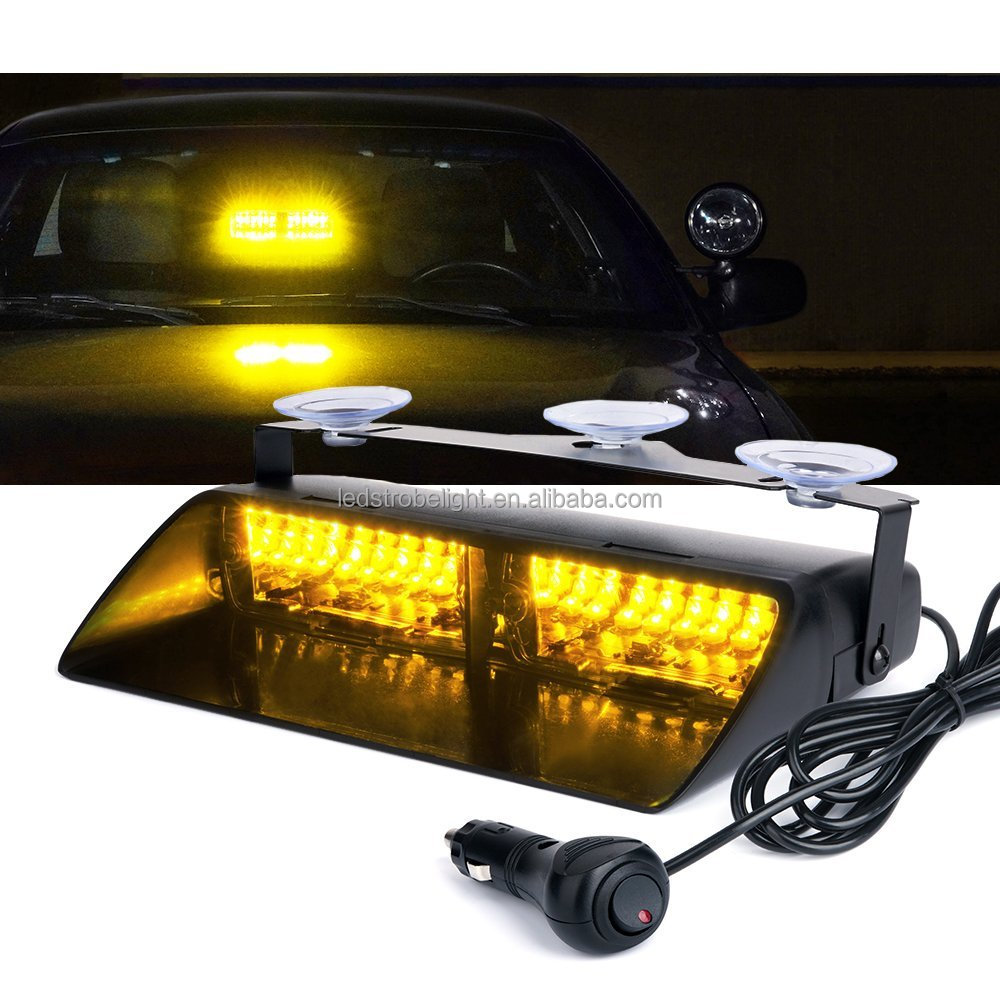9 16 Led Security Car Lights Amber Police Strobe For Interior Roof Dash Windshield With Suction Cups
