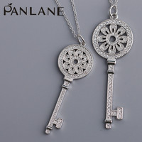 Factory Wholesale Silver 925 European and American Style Sun Flower Key Pendant Sweater Chain Fashion Pop Necklace Female