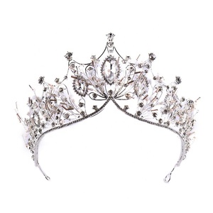 Wholesale Fancy Diamond Beauty Queen Large Crown Crystal Princess Crown Headband Bridal Crown