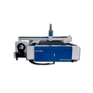 Heavy duty metal fiber laser cutting machine 1500w with rotary axis for cutting steel round pipe/ acctek fiber laser cutter