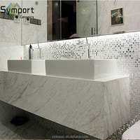 Bathroom Wall Silvery Mirror White Dazzling Glass Mosaic Tile