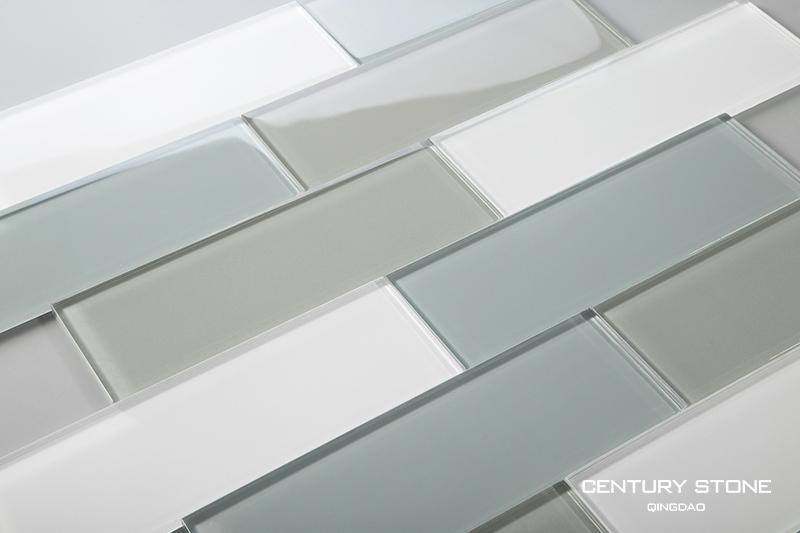 Pollici blu grigio e bianco piastrelle di vetro di cristallo