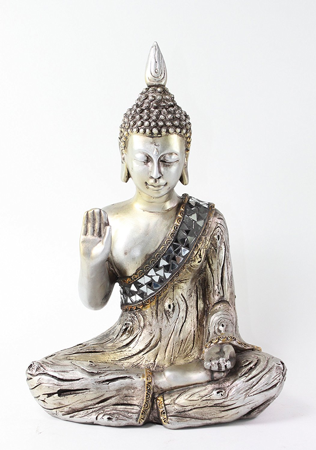 Buy Set Of 2 Dhyana Mudra Buddha Statues Holding Lotus Flower With