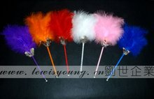 fancy multi-color fluffy feather ball pen as advertisement and promotional gift