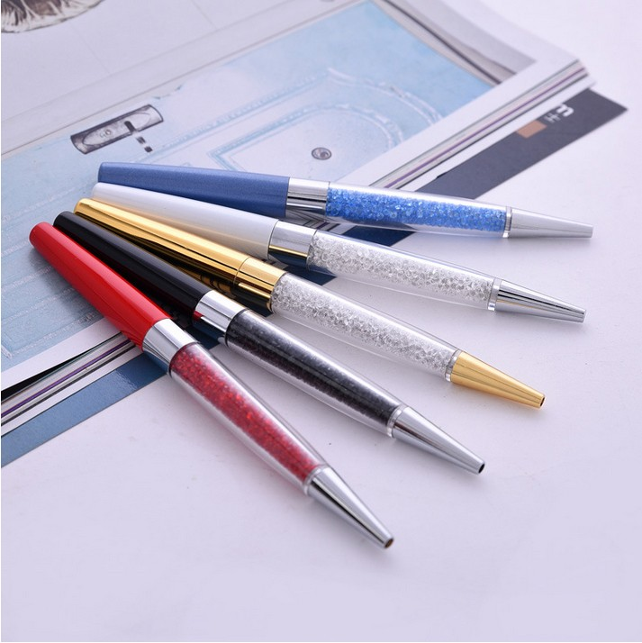 Latest design metal crystal pens Multicolor diamond ballpoint pens High-grade office stationery class pen