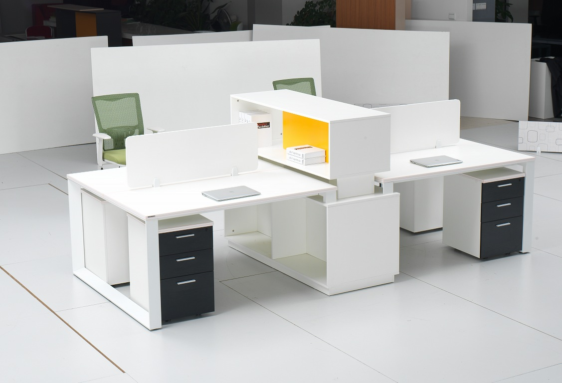 Muebles de dise o moderno blanco estaci n de trabajo de for Diseno de muebles de oficina modernos