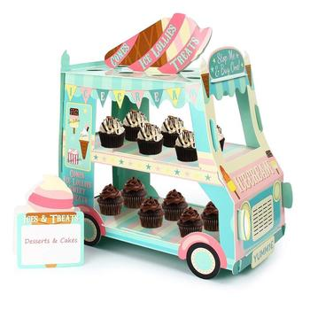 Party Supplies Decoration 3 Tier Car Cupcake Stand Ice Cream Street Van Cake Stand Holder for Theme Party Decoration disposable