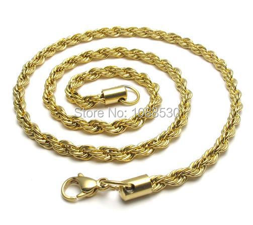 3598b04c8d3206 Get Quotations · Free Shipping 3mm 60cm 316L fashion stainless steel gold  color rope necklaces pendants chains mens boys