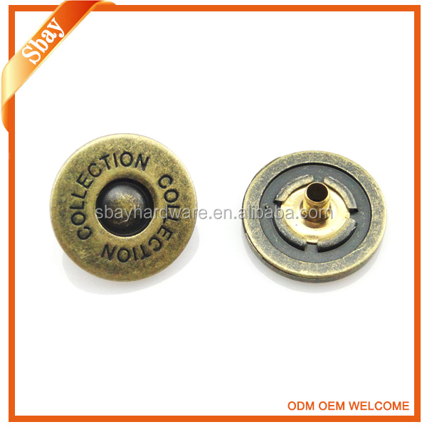Custom brand logo metal push snap button for clothing