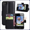 High Quality Leather Wallet Flip mass production cover case for iphone 4 4s