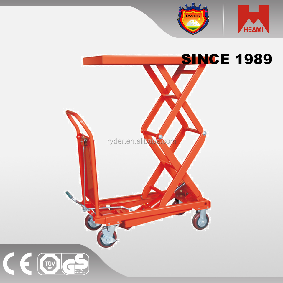 Best price 4mm steel sheet double scissor lift table/mobile hydraulic lifter from heami factory
