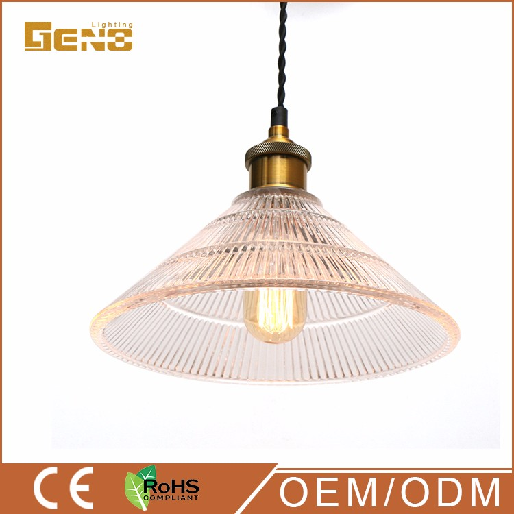 Clear Rib Modern Design Shop Glass Ball Pendant Light