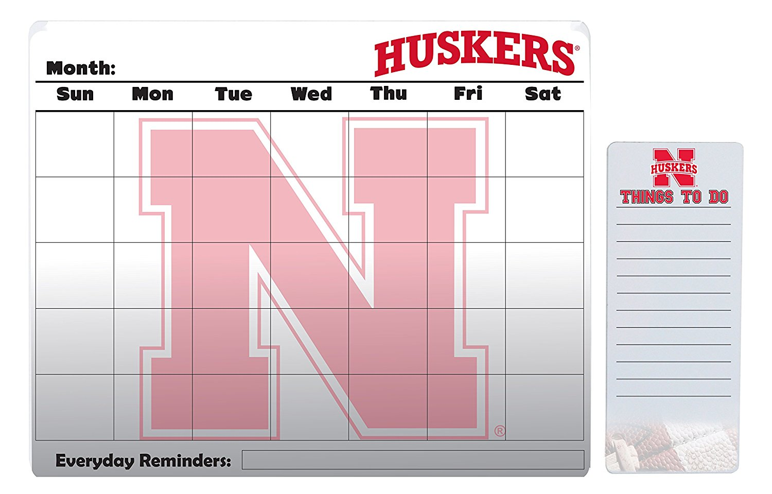 "Nebraska Cornhuskers 16"" x 20"" Dry Erase Calendar Peel and Stick and 4"" x 10"" Dry Erase Board Peel and Stick"