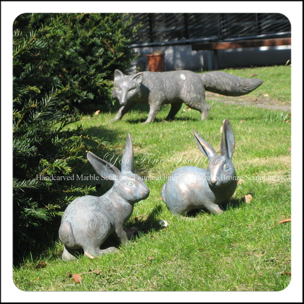 Yard Art Bronze Rabbits And Fox Garden Animal Statues Buy Garden