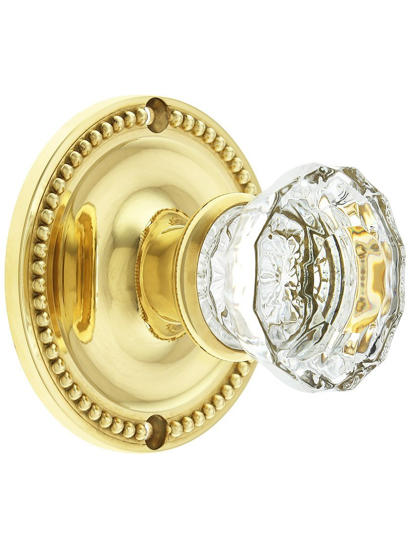 Large Beaded Rosette Door Set with Fluted Glass Knobs Privacy in Lacquered Brass