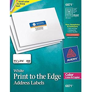 Avery Address Print To The Edge Labels For Color Laser Copier 6871 1 4 X 2 3 8 Matte White 450 Pack