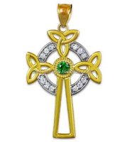Yellow Gold Plated Silver CZ Irish Claddagh Necklace