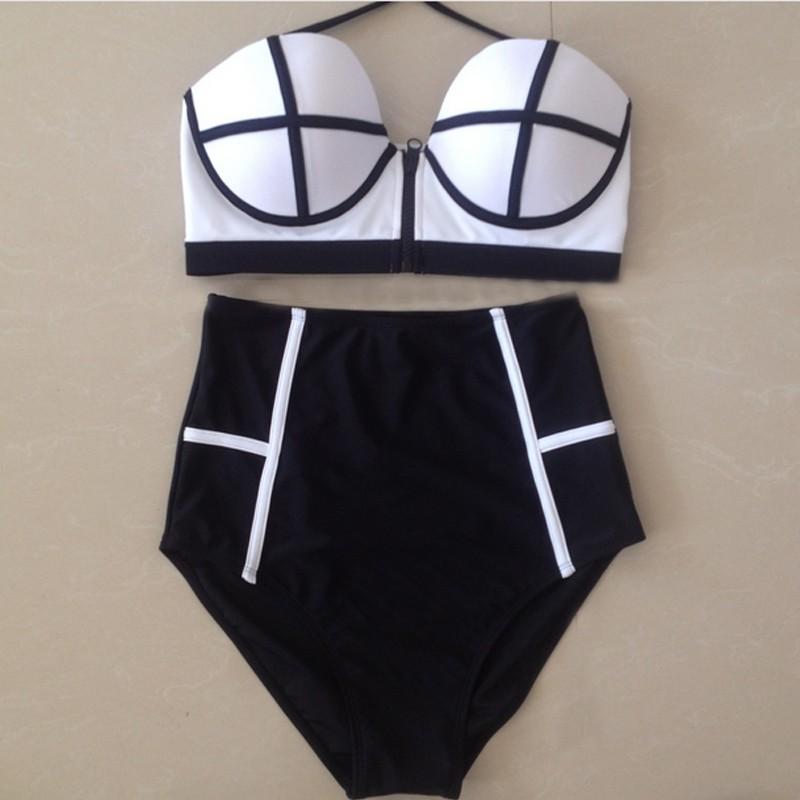 cb706a5ce9ee Sexy de cintura alta Bikini trajes de baño mujeres Bikinis Braga cremallera  trajes de baño Vintage traje Retro Biquinis