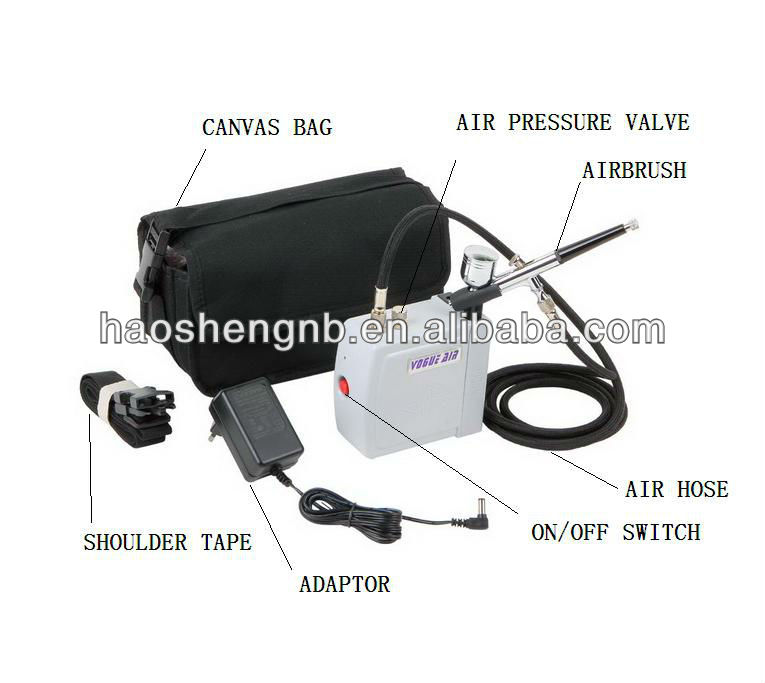 HS08AC-SKC Low Noise Dual Action Airbrush Air Compressor Tool Kit With Bag