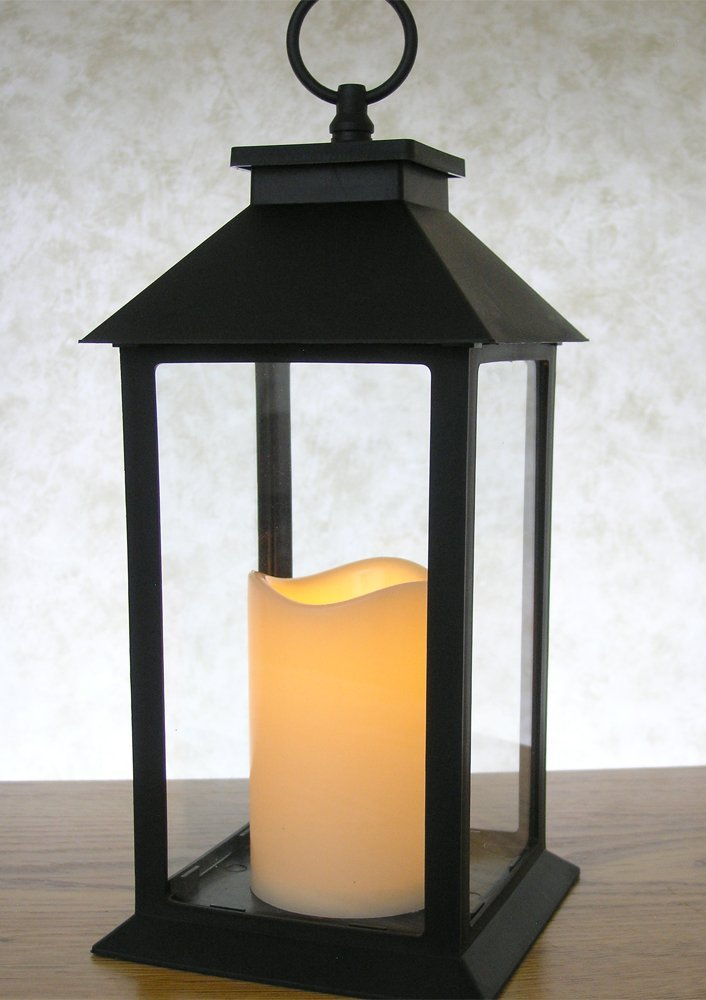 Get Quotations · Black Decorative LED Lanterns   LED Flickering Flameless  Pillar Candle With 5 Hour Timer Included