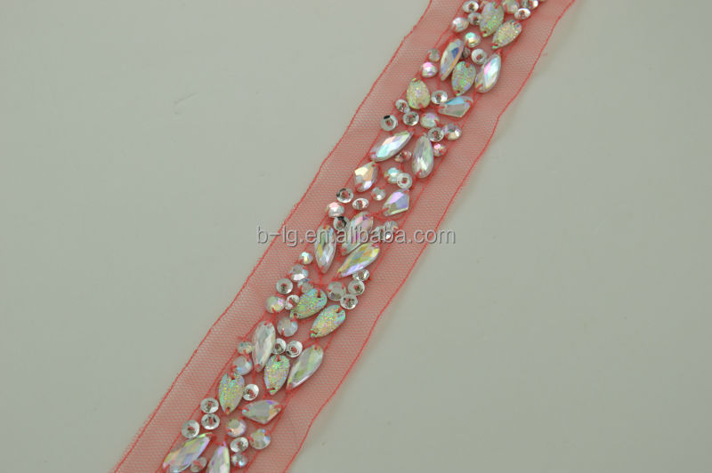 colored mesh acylic beaded lace trim sequin beads applique trim