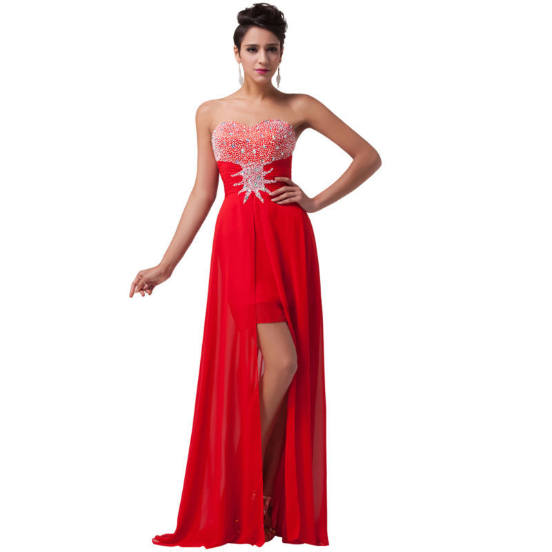 bae29362816 Get Quotations · 2015 Floor Length Red Chiffon Long Evening Dress Strapless  Beaded Prom Party Dress Split Celebrity Dress